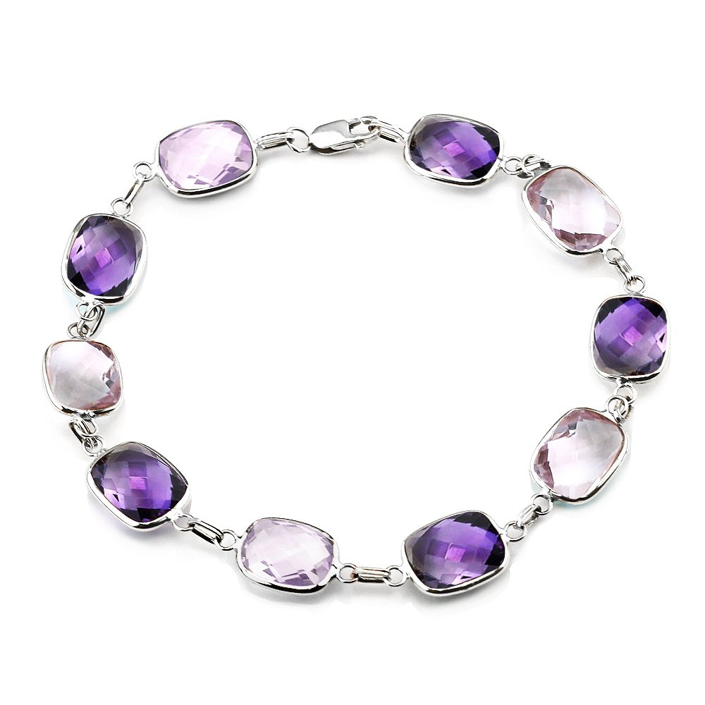 14K White Gold Gemstone Bracelet With Cushion Cut Amethyst And Pink Quartz Link Stations