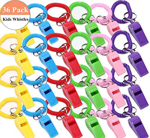 36 Pack Whistles for Kids Party Favors - MeiMeiDa Colorful Party Whistle, Neon Plastic Whistle Bracelets with Keychain, Assorted Color - Whistles Toy Bulk for Birthday, Prizes, Gifts Loot Bags
