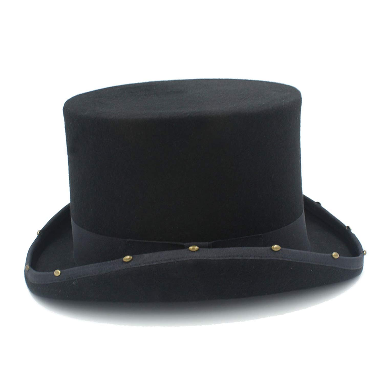 13.5CM Top Hat Steampunk Hat Handmade Rivet Vintage Women Men Traditional Wool Fedoras Hat