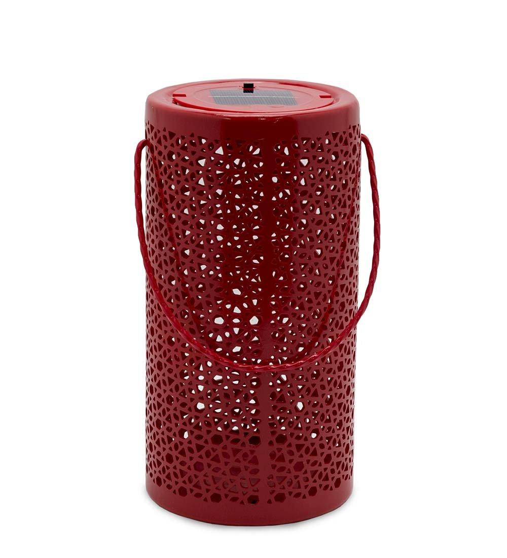Solar Ceramic Hanging Outdoor Lantern 5.5 dia. x 10.75 H Red
