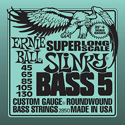 Ernie Ball 5-String Super-Long Scale Slinky Bass Set, .045 - .130 (Scale Long)