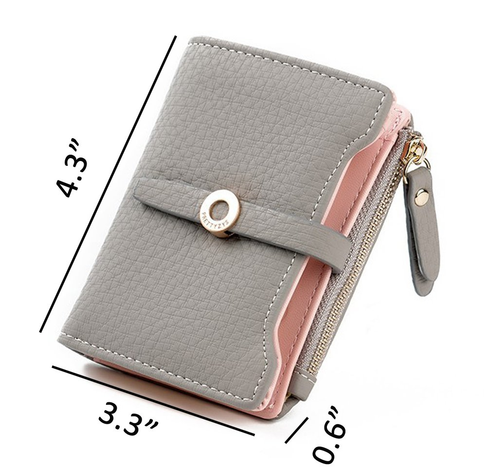 Nawoshow Women Cute Small Wallet PU Leather Girls Change Clasp Purse Card Holders Coin Purse (Grey) by Nawoshow (Image #5)