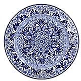NOVICA Blue Ceramic Floral Plate 'Cholula Blossoms'