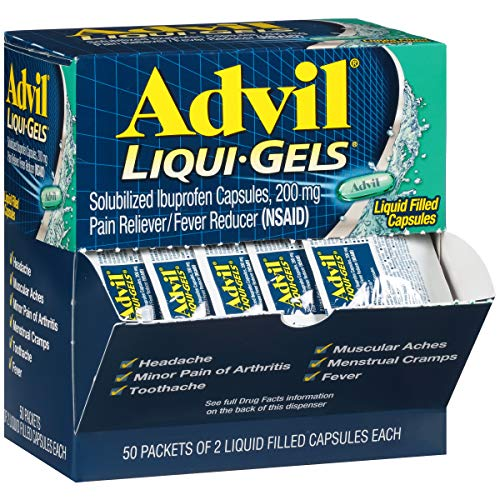 - Advil Liqui-Gels (50 Packets of 2 Capsules) Pain Reliever / Fever Reducer Liquid Filled Capsule, 200mg Ibuprofen, Temporary Pain Relief, Travel Pack, 100 Count (Pack of 1)