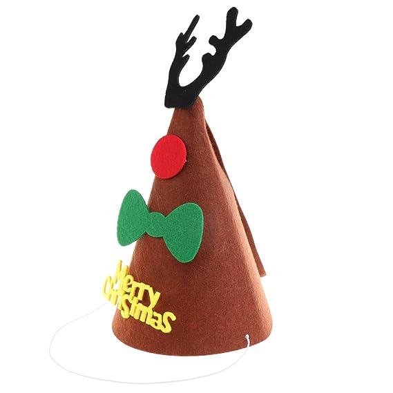 NFE Merry Christmas DIY Felt Fabric Cone Hat Reindeer Horn Star Bow Cap Kids Birthday Fancy Dress Costume Prop Amazonin Clothing Accessories