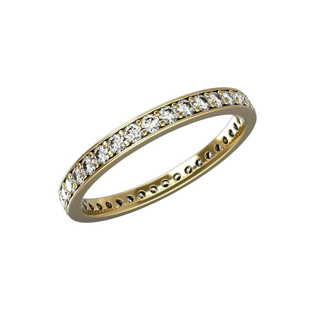 14K Yellow & White Gold Full Eternity 0.5 Carat Diamond Ring for Engagement, Wedding or Anniversary Ring Channel Prong