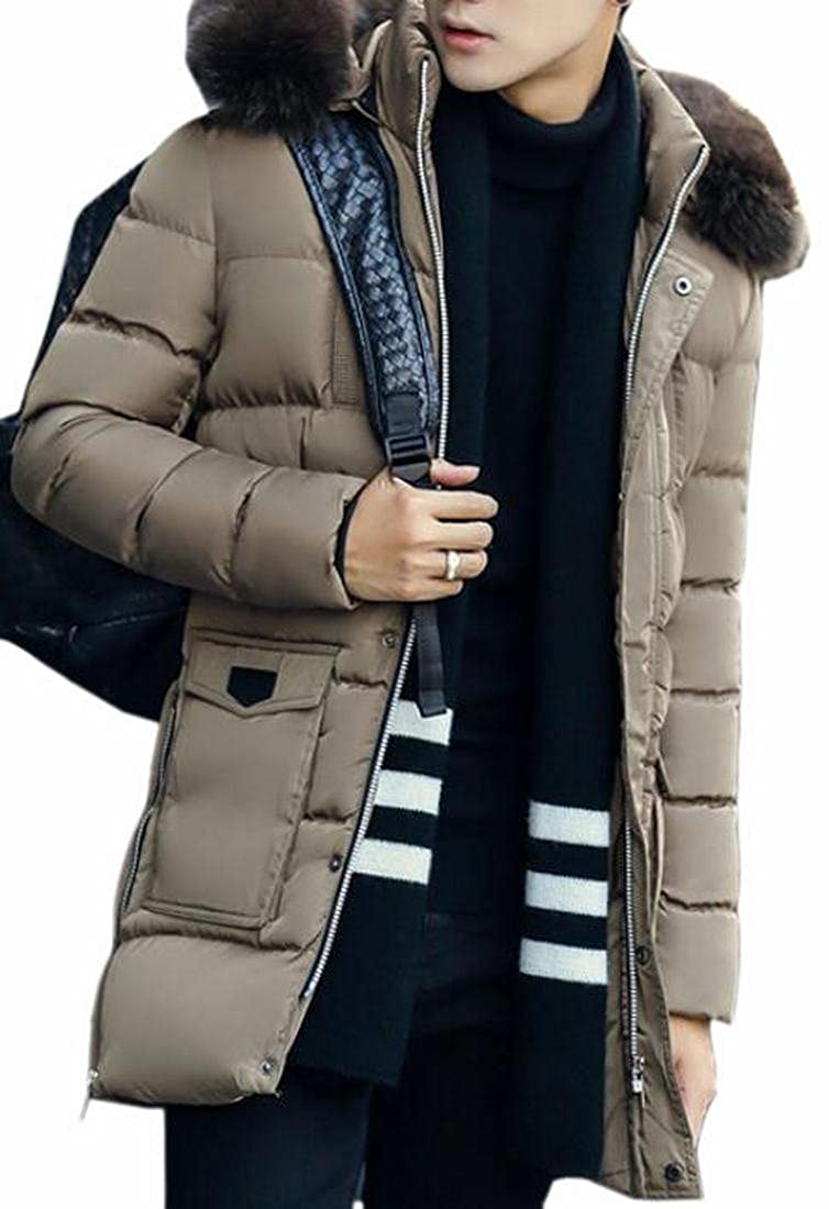 HTOOHTOOH Mens Fashion Faxu Fur Hoodies Mid-Length Lightweight Puffer Coat