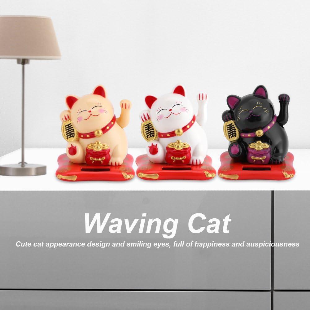 White Solar Powered Waving Cat Waving Arm Good Luck Decorative Cat Home Hotel Restaurant Car Ornaments
