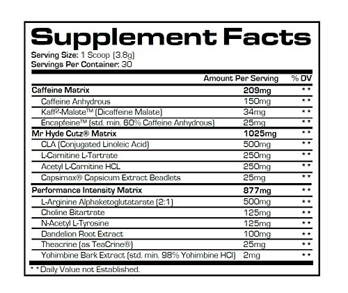 PRO SUPPS Mr. Hyde Cutz Creatine Free Cutting Matrix Powder, Fruit Punch, 114 Gram