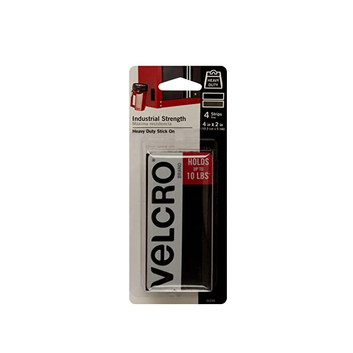 VELCRO Brand - Industrial Strength | Indoor & Outdoor Use | Superior Holding Power on Smooth Surfaces | Size 4in x 2in | Strips, Black - Pack of 4