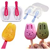 Bango Homemade Cute Rabbit Forzando Snowman Ice Pop Molds,popsicle Molds,ice Trays , Ice Cream Maker set of 2 with Drip Guards, Red