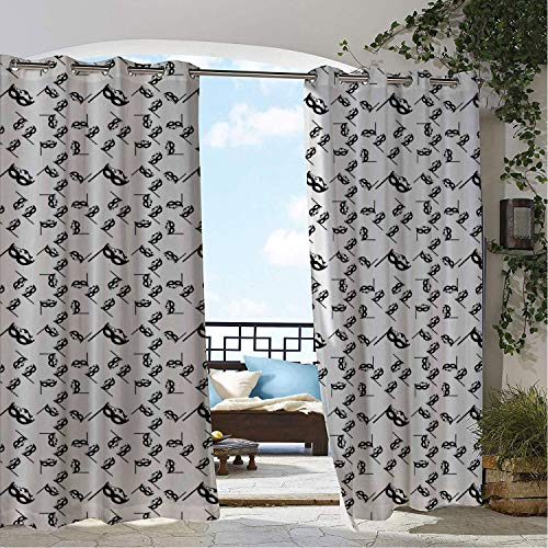 Linhomedecor Outdoor Waterproof Curtain Mardi Gras Repeating Monochromatic Pattern Romantic Masquerade Masks Charcoal Grey and White pergola Grommet Patterned Curtain 84 by 84 inch ()