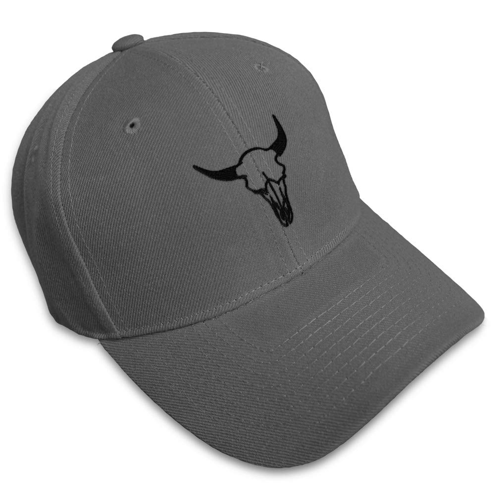 Custom Baseball Cap Longhorn Skull A Embroidery Acrylic Dad Hats for Men /& Women