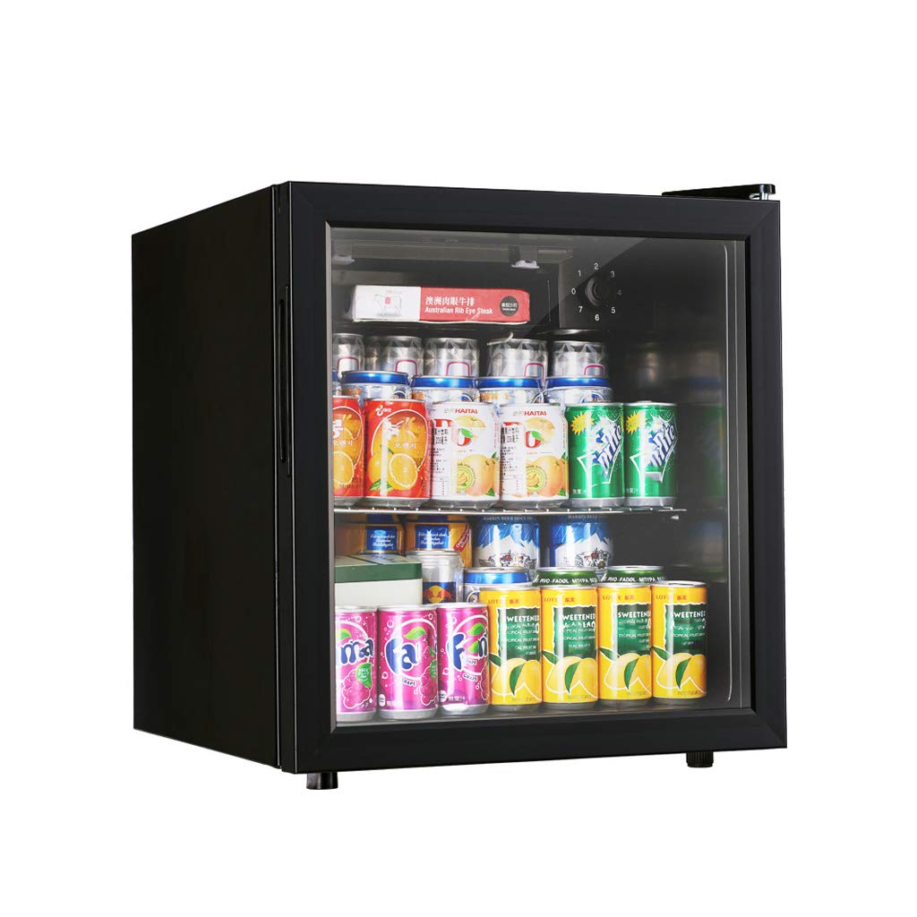 Lxn 52L Black Beverage Cooler and Refrigerator, Small Mini Under Counter Fridge with Glass Door, Perfect for Soda Beer or Red Wine,Office, Dorm or Apartment with Adjustable Removable Shelves