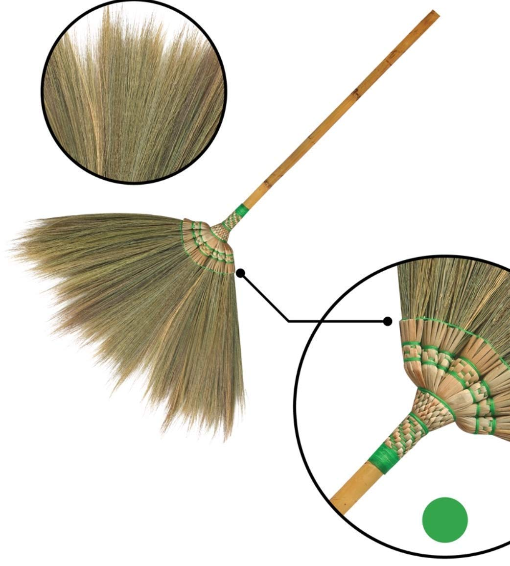 Natural Grass Broom 100% Handmade with a Bamboo Broomstick Embroidered Woven Nylon Top and Bottom Handle and The Reed Tree Hand Grip Thai Broom for Indoor and Outdoor Use - Soft, Large, Wide, Vintage by SKENNOVA