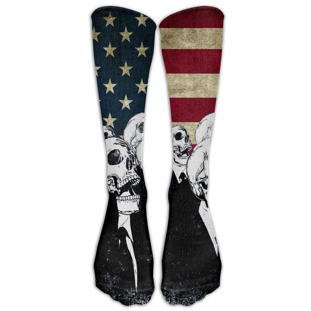 Skull American Flag Blue Red Women & Men Knee High Socks Baseball Athletic Tube Long Stockings New pants