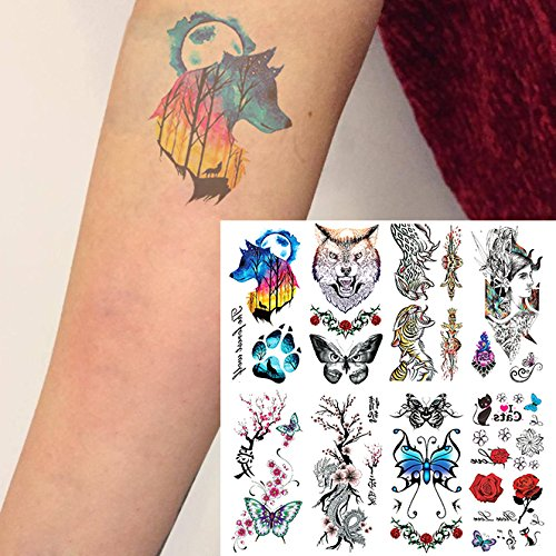 38854995b Oottati 8 Sheets Temporary Tattoo 3D Stickers Hand Ankle Wolf Footprint  Butterfly Tiger Rose