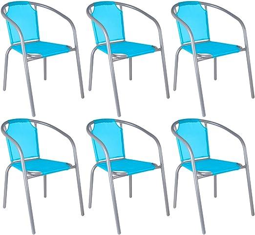 Promobo – Lote de 6 sillas, tipo silla de bar, para jardín, apilables, resina textilene, estructura metálica, color turquesa: Amazon.es: Hogar