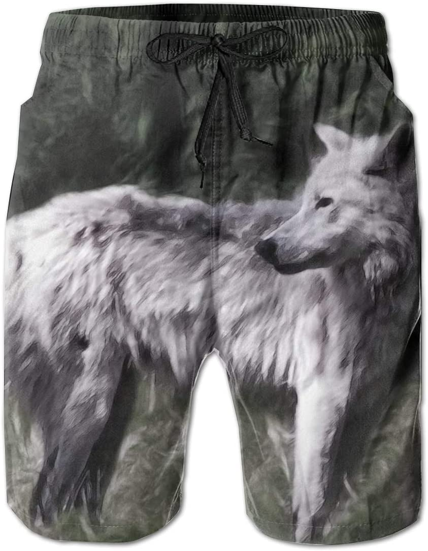 HZamora/_H Mens Lonely Wolf by Ren Summer Breathable Quick-Drying Swim Trunks Beach Shorts Cargo Shorts
