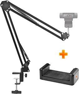 "Webcam Stand,uunumi 28"" Webcam Camera Clamp Mount Adjustable Desktop Suspension Boom Scissor Tripod Stand Built-in 1/4"" Screw Flexible Long Arm Swivel Holder for Webcam Camera(Black)"