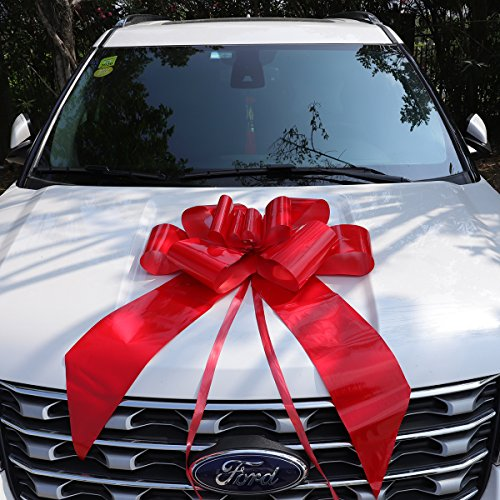 24'' Red Car Bow | Large Bow for New Car, for Graduations, Weddings, Anniversaries, Birthdays Gift, Surprise Party | Weather Resistant | Includes Suction Cup, Easy to Assemble by Letoo