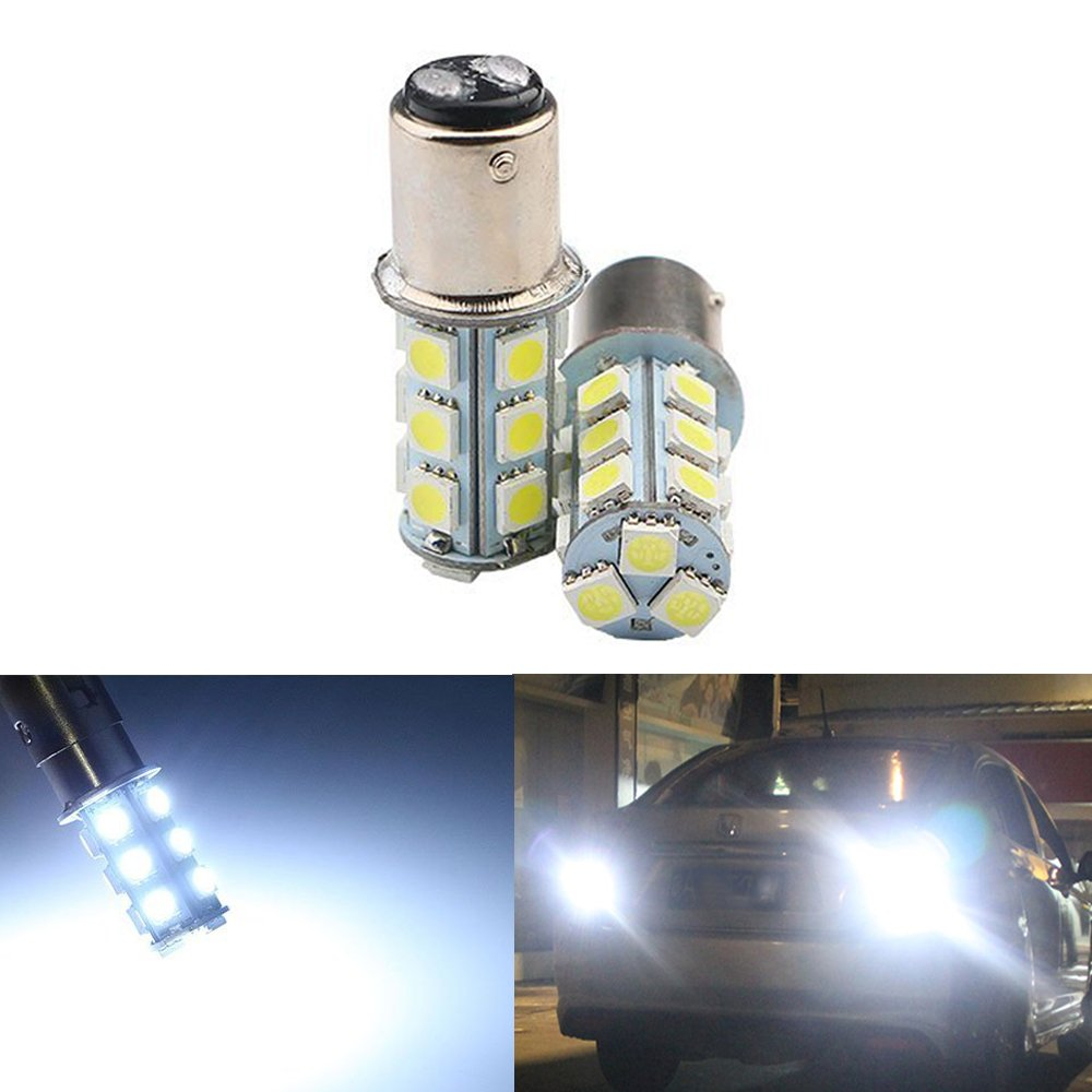 12-Pack 1157 BAY15D 1016 1034 7528 2057 White LED Light 12V-DC AMAZENAR 5050 18 SMD Car Replacement For Brake Parking Turn Signal Light Lamps Tail BackUp Bulbs