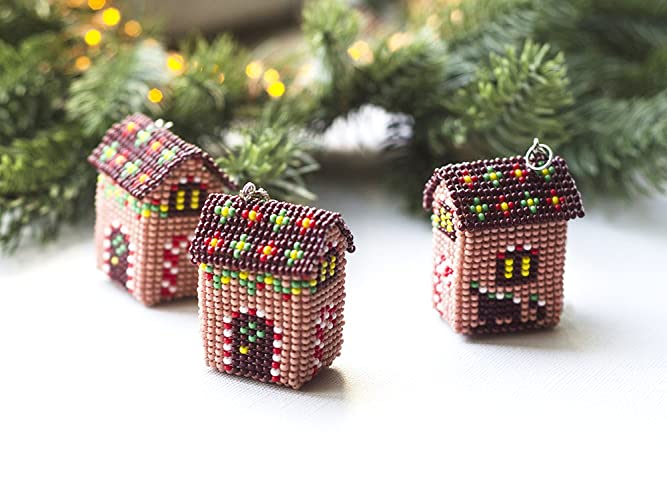 handmade beaded gingerbread house keychain christmas gift idea fo friends xmas gifts for coworker secret santa
