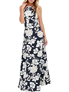 8a3b28385b82 Romacci Women's Sleeveless Halter Neck Maxi Dress Vintage Floral Print  Backless Beach Long Dresses S-