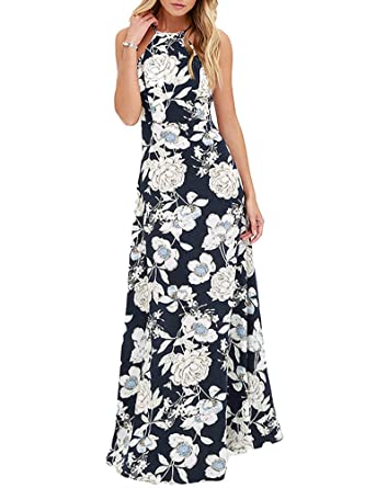 bdcd12026bc80 Romacci Women's Sleeveless Halter Neck Maxi Dress Vintage Floral Print  Backless Beach Long Dresses S-5XL, Blue/Black at Amazon Women's Clothing  store: