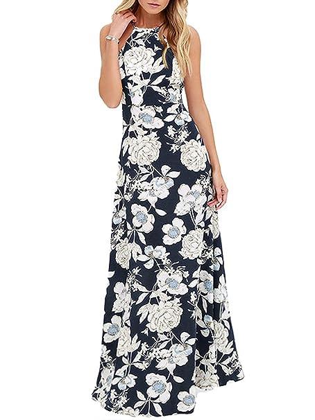 1b83cdc26f4a Romacci Women Dress Halter Neck Floral Print Sleeveless Summer Beach Dress:  Amazon.ca: Clothing & Accessories