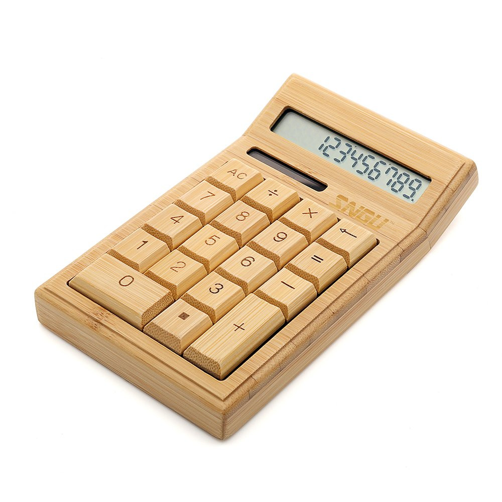 Sengu Bamboo Wooden Solar Calculators Standard Function Desktop Calculator with 12-digit Large Display SG-CS19-NN