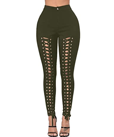 8046283e391fc5 Women's High Waist Lace Up Skinny Pants Hollow Out Stretchy Bodycon Jeans  at Amazon Women's Clothing store: