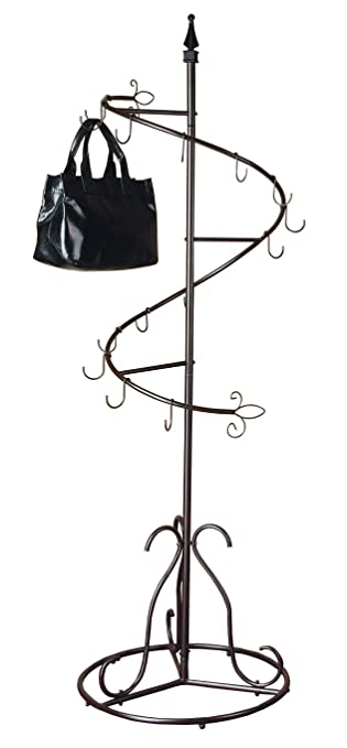 purse handbag metal display tree stand coat rack brown painted finish