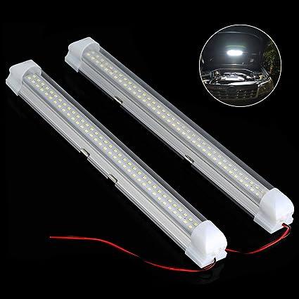 2pcs led eclairage intrieur voiture 35w 72 led lampe plafonnier barre de bande avec
