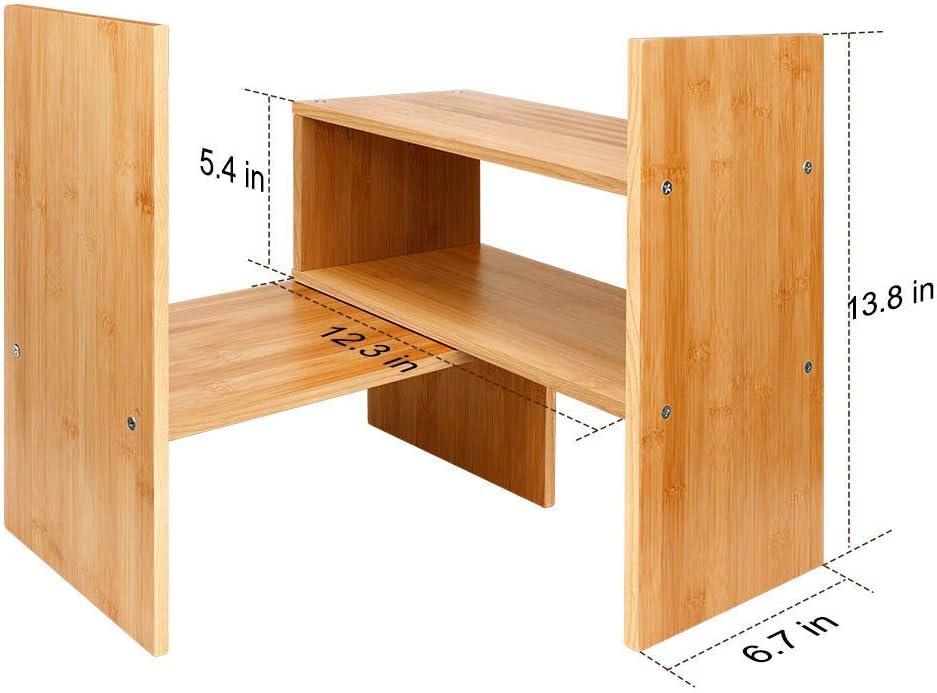Widousy Adjustable Natural Wood Desktop Bookshelf Bamboo Desk Storage Organizer Display Shelf Rack Counter Top Bookcase