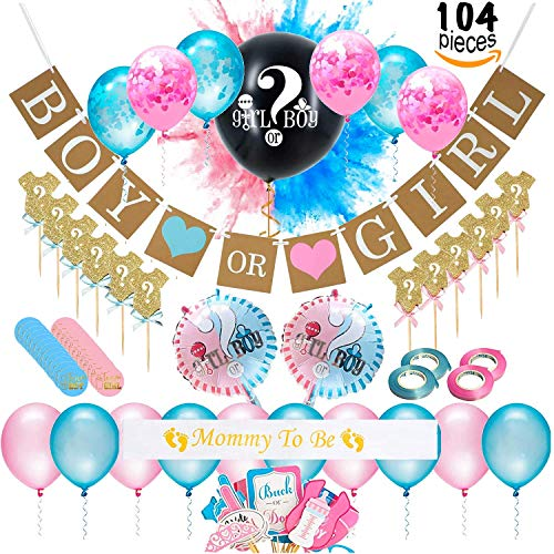 Baby Gender Reveal Party Supplies (104 Pieces) Kit Including Photo Props, 36 Inch Reveal Balloon, Mommy To Be Sash, Baby Shower Decorations, Confetti Balloons, Boy or Girl Banner, Cake Toppers - Gender Supplies Baby Reveal Party