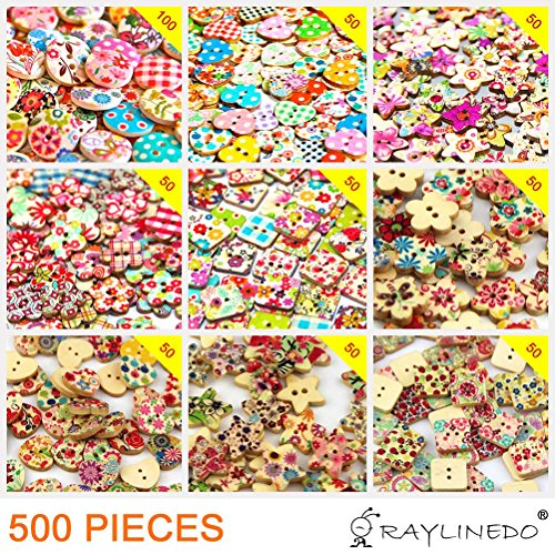 RayLineDo Mixed Different Pattern Printed Various Shaped Wooden Buttons Crafting Sewing DIY Different Holes Approx 500 PCS