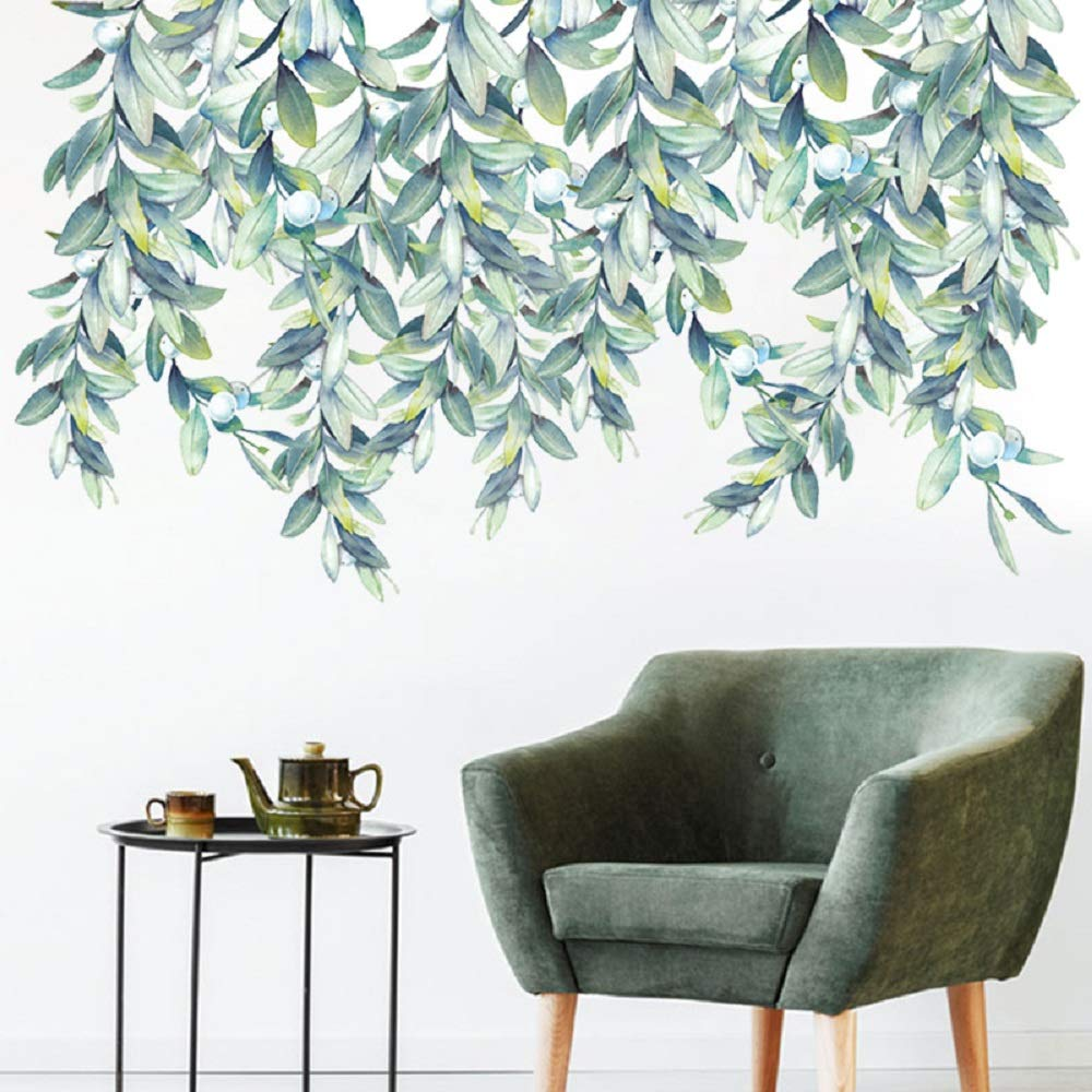 C17 Amaonm 3D Removable Hanging Green Leaves Wall Decor Wall Decals Plants Leaf Wall Stickers Murals for Home Wall Background Kids Girsl Baby Bedroom Nursery Living Room Classroom Office
