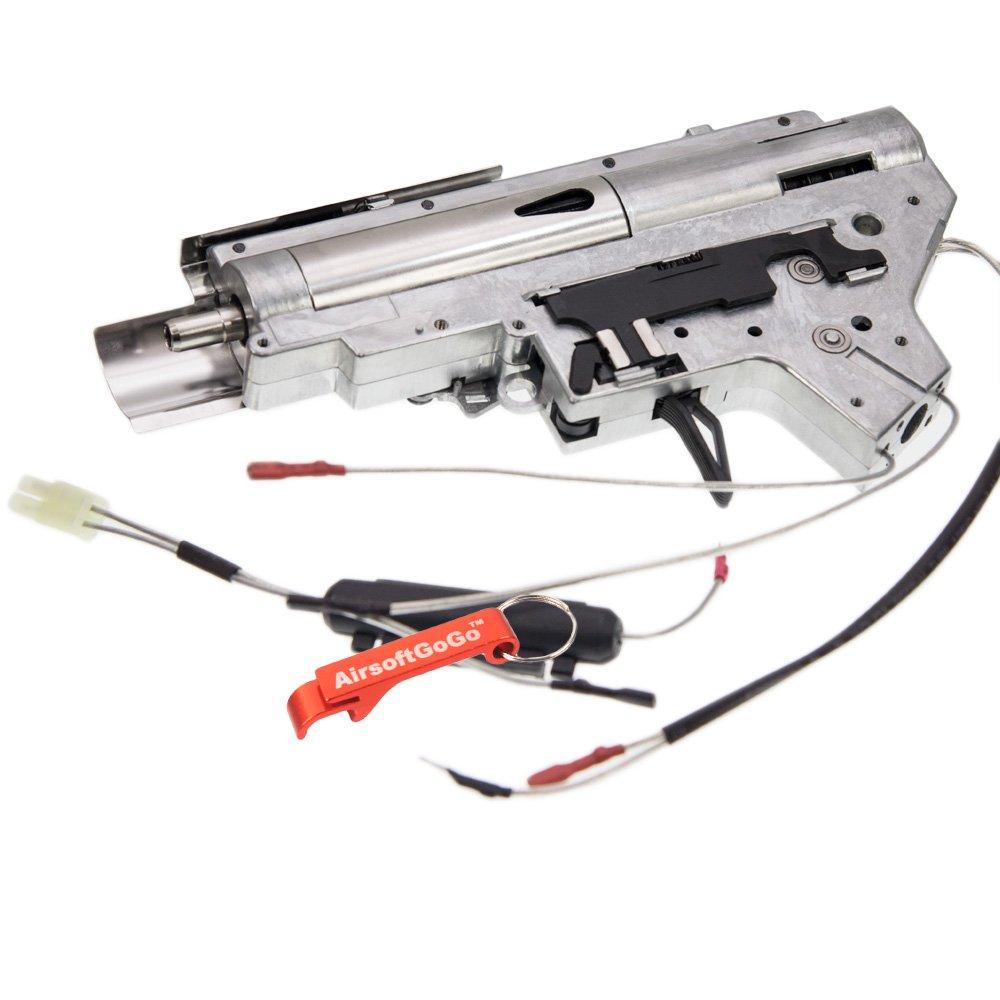 APS Metal 8mm Cojinete Gearbox Completo Cableado Trasero para APS M4 Ver.2 Gearbox Airsoft AEG (Plata) - AirsoftGoGo Llavero Incluido