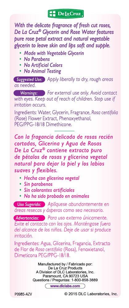 De La Cruz Glycerin and Rose Water, No Parabens or Artificial Colors, Made in USA 8 FL. OZ. 6 Bottles
