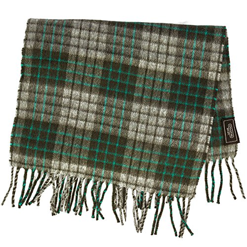 coach mens 100% cashmere plaid scarf grey and green color combo (Coach Scarf Brown)