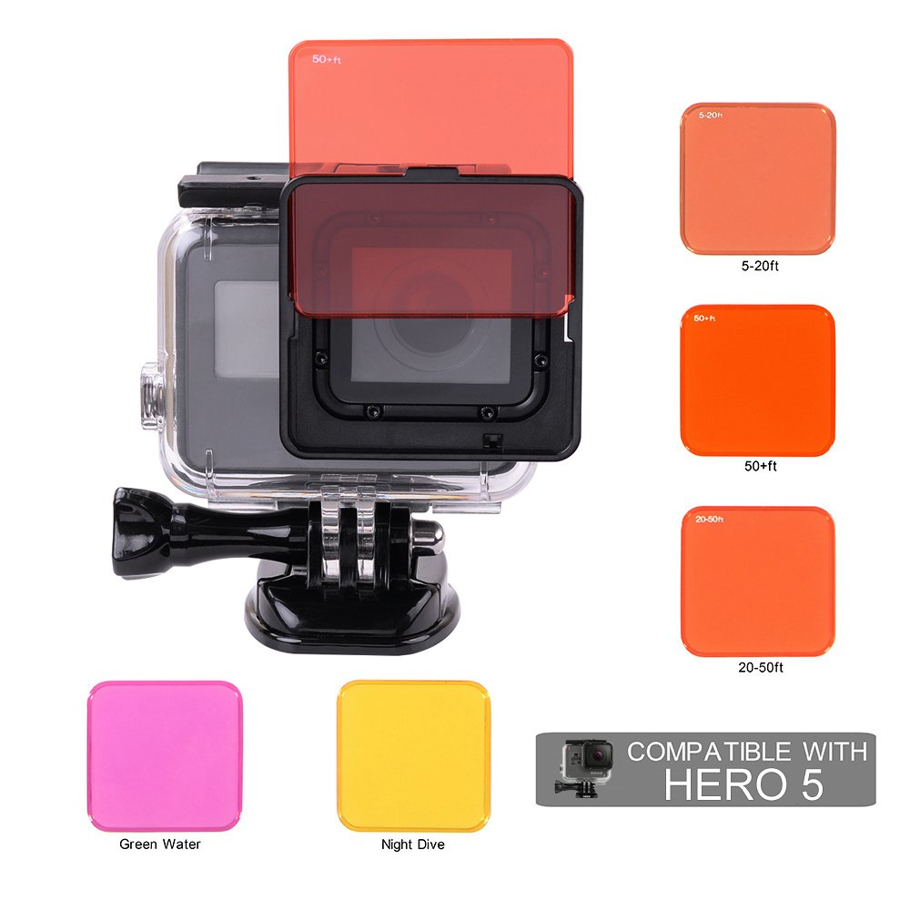 Scuba Diving Lens Filter Kit for Gopro Hero 5 HERO 6 Camera with Original Gopro Waterproof Housing only by HOLACA by HOLACA