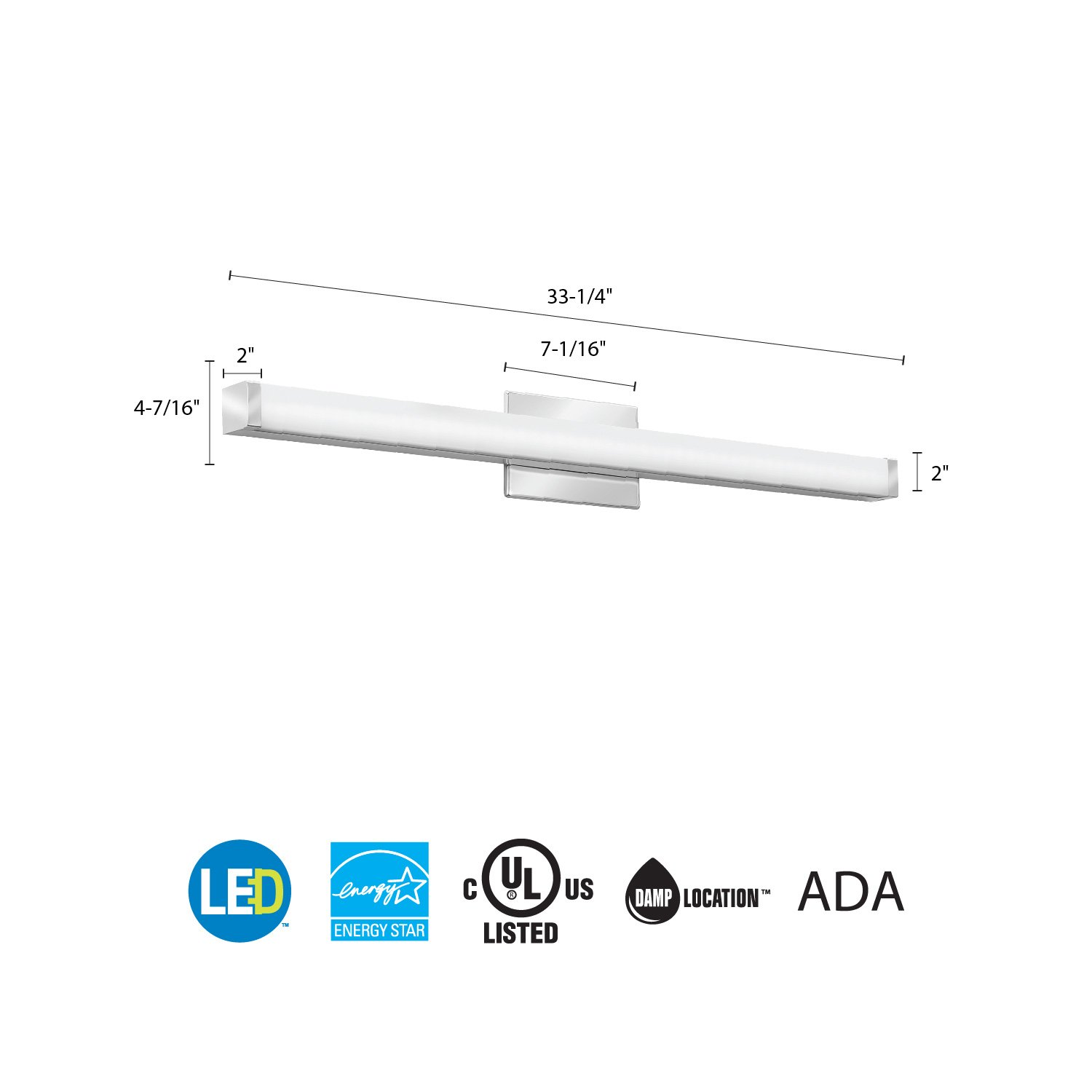 Lithonia Lighting Contemporary Square 3k Led Vanity Light 3 Foot 556cn Blinking Schematic Star Travel International And Domestic Chrome