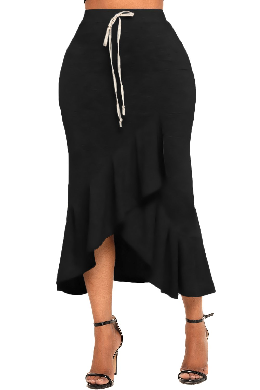 EnlaChic Women Summer Elastic Waist Drawstring Ruffle Stretchy Bodycon Midi Skirt,Black,L(Prime) by EnlaChic (Image #4)
