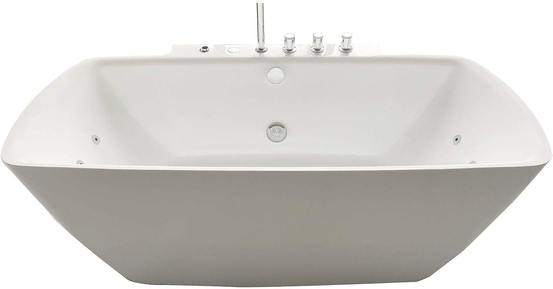 "ARIEL Ara Whirlpool Bathtub in White   Deep Soaking Comfort   Hydro- Massage System 14 Whirlpool Jets & Adjustable Air Bubble Infusion   Center Drain   Handheld Shower   68"" x 34.5"" x 25.75"""
