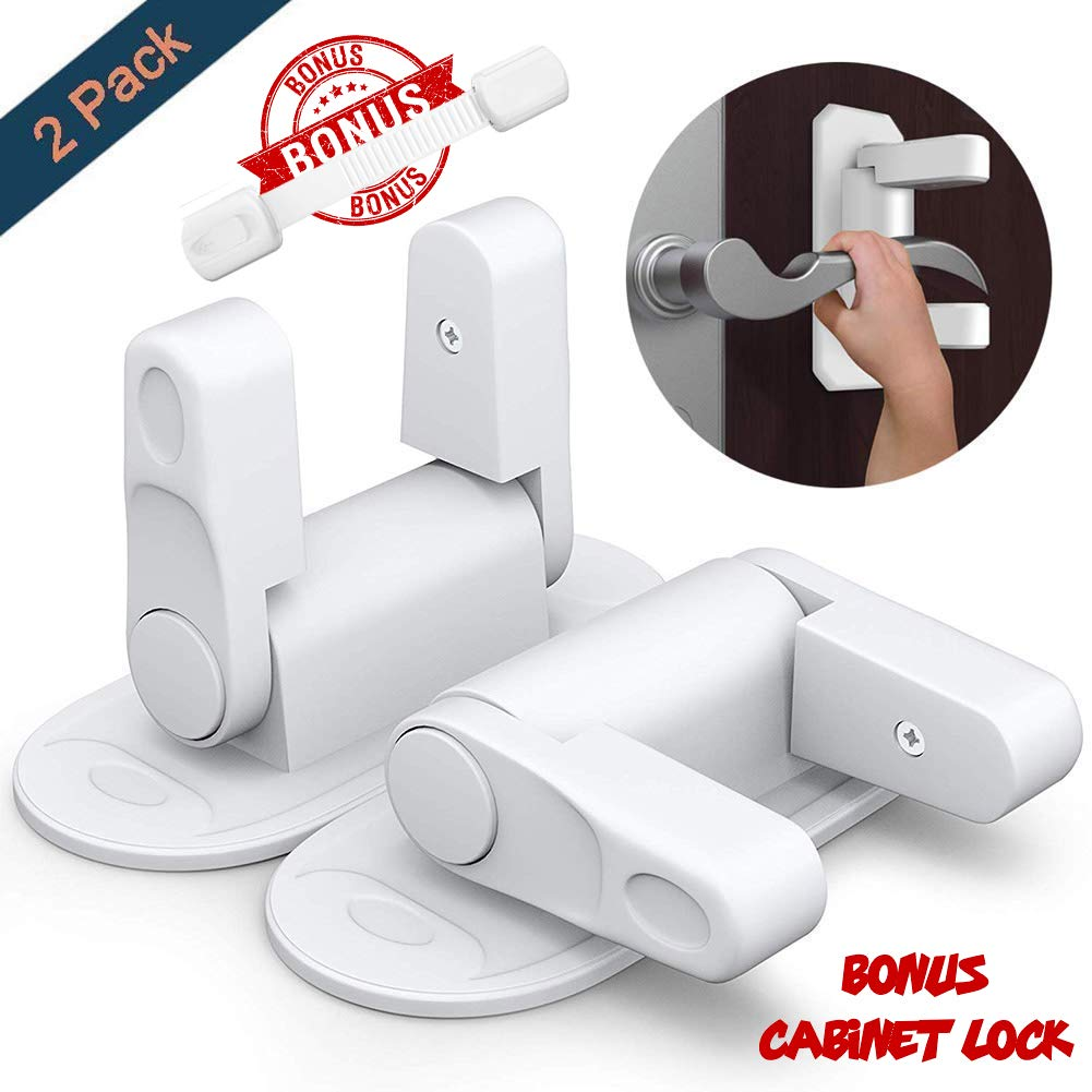 Child Safety Proof Door Handle Lever Lock [ Pack of 2 ] With Hight Quality 3M Adhesive For Kitchen, Bathroom, Bedroom and Gates + Child Safety Cabinet Lock [ BONUS ] Easy Installation and Multipurpose Safetyboss