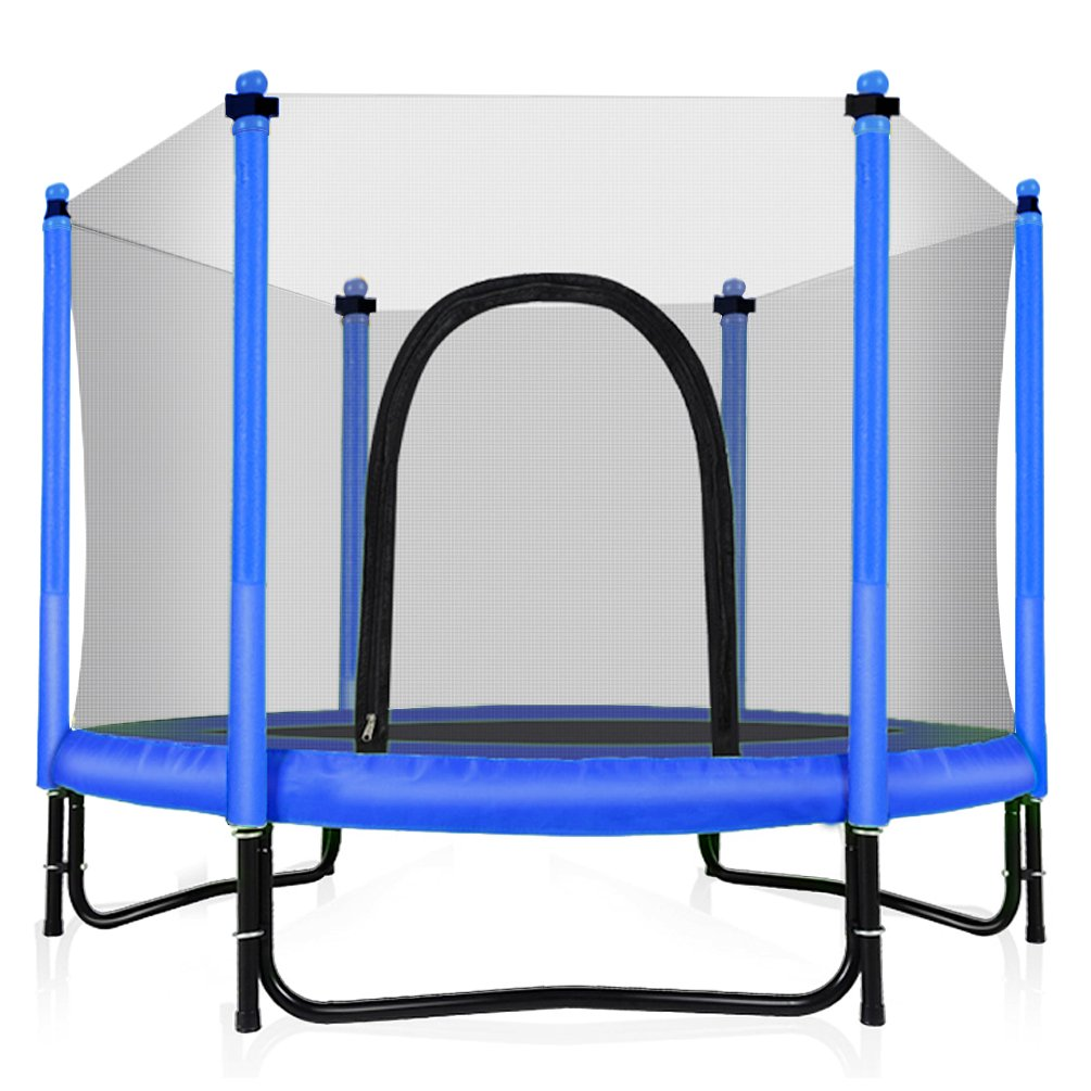 Fashionsport OUTFITTERS Trampoline with Safety Enclosure -Indoor or Outdoor Trampoline for Kids-Blue-5FT