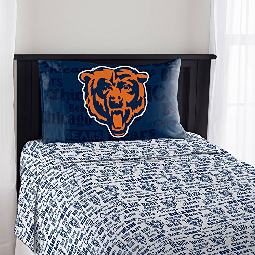 Chicago Bears Full Sheet Set (4 Piece Nfl Bears Anthem Sheet Full Set, Football Themed Bedding Sports Patterned, Team Logo Fan Merchandise Athletic Team Spirit Fan, Navy Orange White, Polyester)