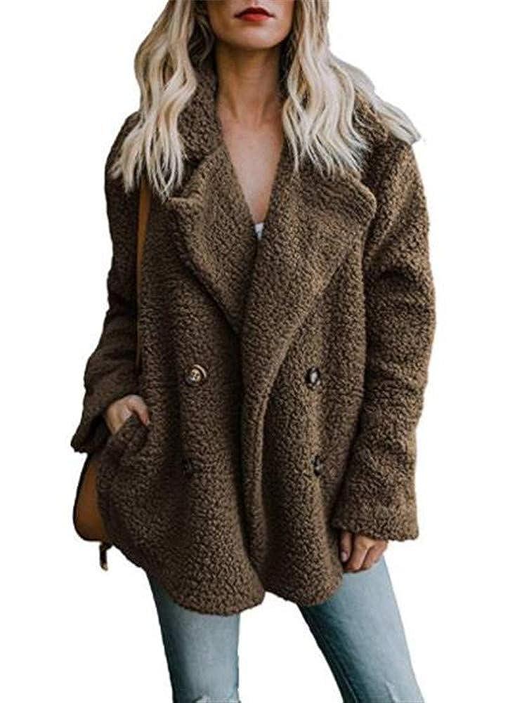 Ibelive Women Autumn Winter Fuzzy Fleece Open Front Cardigan Jacket Coat Outwear with Pockets