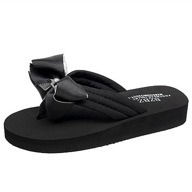 e399f6ac6c9d8 Women Slippers Female Summer Fashion Sandals Bow Flip-Flops Flat-Bottomed  Beach Slippers Non